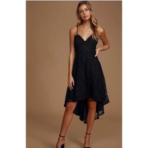 So Adored Black Crochet Lace Sleeveless High-Low